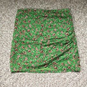 Mango Green Floral Ruched Mini Skirt - Size XXS/XS